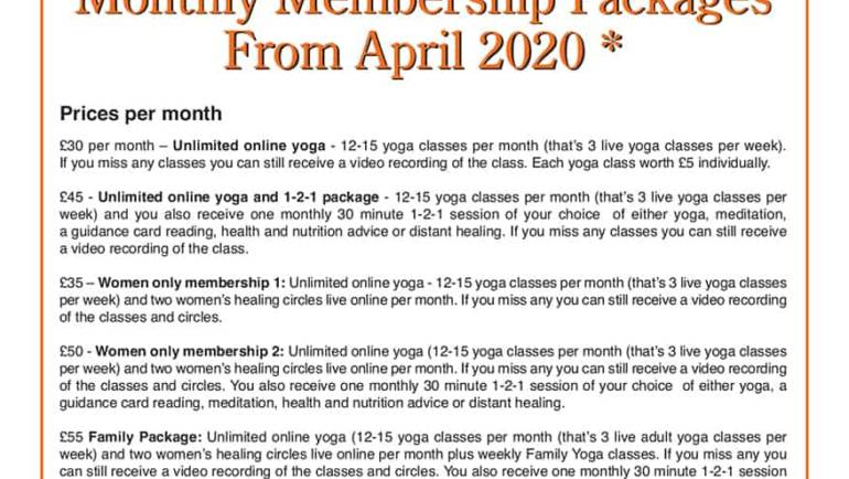 Online Monthly Yoga Packages